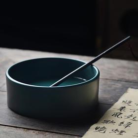 孔雀绿釉水洗笔洗 茶洗 水仙盆 景德镇手工仿古瓷器