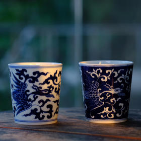 长物居 观味杯 手绘青花凤纹瓷器水杯 景德镇手工陶瓷茶具茶杯