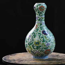 长物居 手绘斗彩缠枝莲纹蒜头瓶 景德镇手工仿古陶瓷花瓶