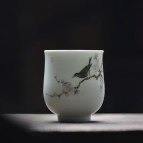 现货 观味 青年艺术家手绘花鸟杯手握杯 景德镇手工陶瓷茶杯茶具