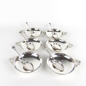 【菲集】1905年英国伦敦 纯银冰淇淋勺子盘子12件套装 艺术品收藏品