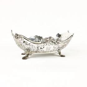 【菲集】艺术品 1916年英国谢菲尔德纯银船型盘子 收藏品