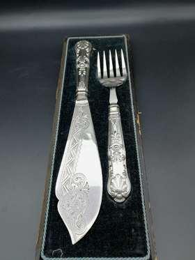 【菲集】1870-1880年 收藏级银质雕花刀叉 艺术品 跨境直邮