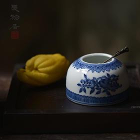 仿乾隆手绘青花三果纹水盂 景德镇手工仿古陶瓷文房用具