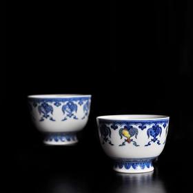 长物居 手绘青花瓷器茶杯高足杯石榴花 景德镇手工陶瓷茶具茶碗