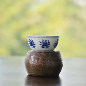 长物居 成化青花花卉卧足杯 景德镇手绘仿古陶瓷茶杯茶具品茗杯