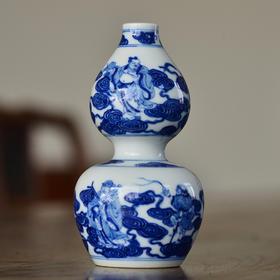 长物居 青花八仙葫芦瓶 景德镇手绘仿古陶瓷花瓶摆件装饰