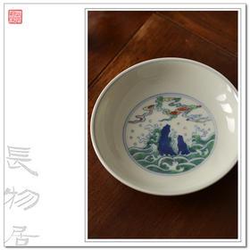 长物居观味 杯垫杯托壶托茶托陶瓷 手绘斗彩 景德镇手工瓷器茶具