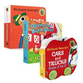 英文原版 3册手掌书 Richard Scarry's cars and trucs A to Z/Open The Barn Door Find a Cow/Lowly Worm Word Book