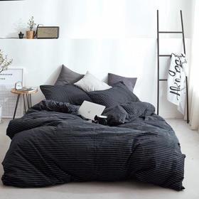 无印良品风针织棉细条纹系列正品 YKK拉链 裸睡神器多规格四件套 性冷淡风