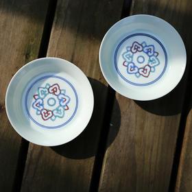 长物居 斗彩如意云头纹碟 景德镇仿古陶瓷茶碟