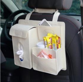 【汽车收纳】*毛毡汽车座椅后背悬挂袋多功能储物收纳袋整理袋纸巾盒