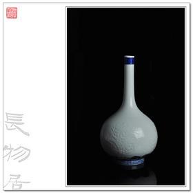 观味 暗刻龙纹胆瓶大号 景德镇手工仿古陶瓷花瓶 家居饰品摆件