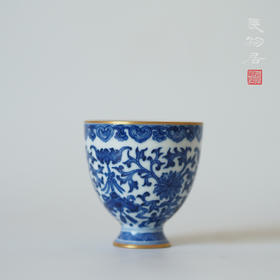 长物居 青花描金缠枝莲茶杯品茗杯 景德镇手工仿古陶瓷茶具