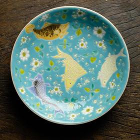 长窑制器 预定绿地粉彩年年有鱼赏 景德镇手绘仿古陶瓷果盘赏盘