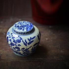 长物居 仿成化青花花卉茶叶罐 景德镇手绘陶瓷茶具茶仓大号