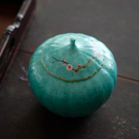 长窑制器 长物居松石绿扒花瓜棱形茶叶罐