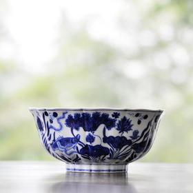预约 仿宣德 手绘青花鱼藻纹十棱菱口大碗 景德镇手工仿古陶瓷碗