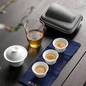 德化白瓷快客杯套装一壶三杯便携旅行茶具含杯袋旅之永恒