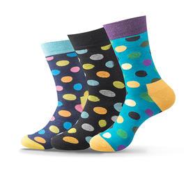 波点骚袜 男士时尚轻棉中筒袜 休闲运动袜子(3双)
