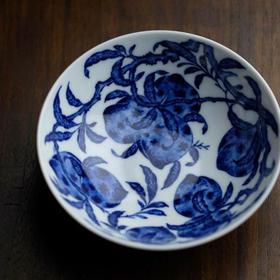 长窑制器 长物居青花寿桃卧足盏 景德镇手给陶瓷茶盏茶碗