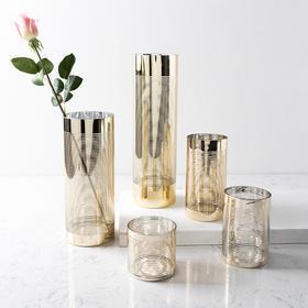 现代轻奢家居装饰品摆件 约昂透明金色玻璃烛台