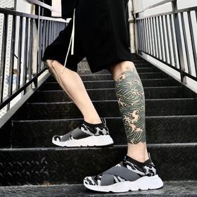 【轻如羽毛,舒爽一夏】VACYHOME 超轻弹力布面运动鞋 袜子鞋 慢跑鞋 鲨鱼黑 荧光白限量版 男女情侣鞋