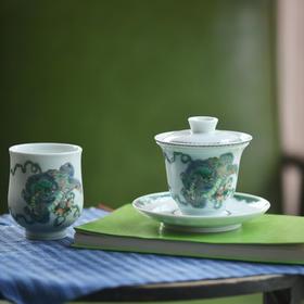 长物居 观味手绘五彩狮子绣球盖碗茶具 景德镇陶瓷三才盖碗