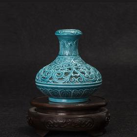 宝瓷林 孔雀绿香炉 镂空雕刻瓷 香道宗教祭祀用品 景德镇瓷器