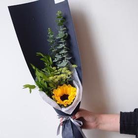 【向日葵】向日葵香桃木茴香尤加利叶长款鲜花花束