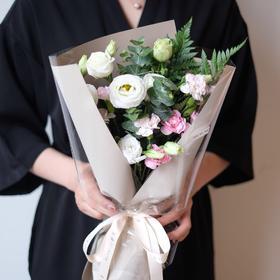 【白桔梗】白桔梗尤加利叶多丁羊齿鲜花花束