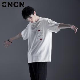 CNCN男装 夏季潮流织带印花T恤 男短袖薄款纯棉体恤衫CNDT20987