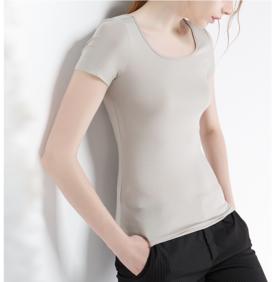 超级舒服CANVAUS莫代尔短袖圆领修身基本款纯色半袖紧身小衫t恤女