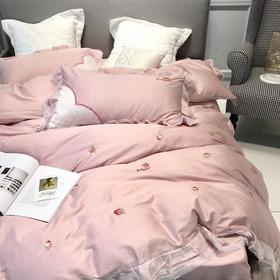 甜美少女风刺绣草莓60S长绒棉四件套蕾丝工艺纯棉床品