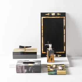 现代样板房软装饰品摆件首饰盒烟灰缸托盘纸巾盒套装 牛角纹系列