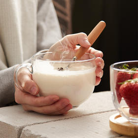 大号大肚奶茶杯子情侣钢化玻璃咖啡杯子带盖家用牛奶早餐杯