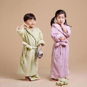 全棉毛巾草木染儿童带帽浴袍 长绒棉柔和 亲肤