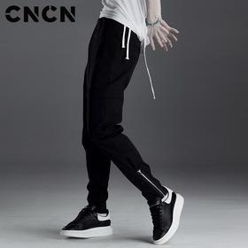 CNCN男装 新品黑色修身男士休闲裤 拉链收脚口裤子男CNDK19130