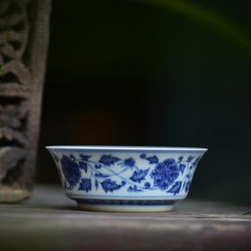 长物居 手绘青花缠枝莲茶碟点心碟 景德镇陶瓷碟