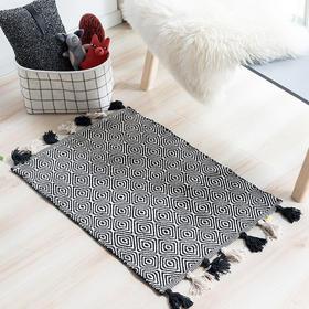 纳谷 | Twine系列格纹流苏印度手工地毯