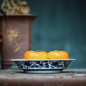 长物居 手绘青花缠枝牡丹盘 景德镇手工陶瓷餐具盘果盘点心盘