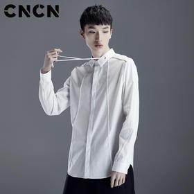 CNCN男装 纯色修身春季衬衫 男青年弹力百搭长袖衬衣CNDC19140