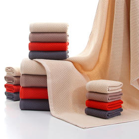 【超强抗菌毛巾】蜂窝纯棉毛巾浴巾两件套,3秒瞬吸享受沐浴 热卖
