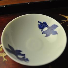 长物居 手绘青花双鱼纹卧足盏 景德镇陶瓷手工茶盏茶具碗