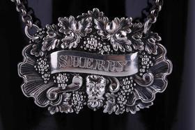 【菲集】1827年英国伯明翰纯银红酒瓶标签 极具收藏价值的艺术品 跨境直邮