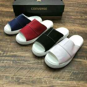 【女款】CONVERSE CV SANDAL CANVAS 匡威春季新款窄盒 时尚缝线装饰红蓝黑粉帆布运动凉鞋