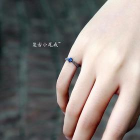 密密家925纯银复古泰银锆石尾戒网红戒指女日韩潮人学生个性指环
