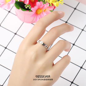 925纯银手工复古泰银贝珠戒指日韩简约创意个性潮女学生韩版指环