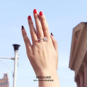 s925纯银日韩国创意网红可爱镶钻个性开口棒棒糖戒指简约甜美时尚