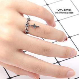 泰银复古风925纯银克罗心网红十字架戒指女日韩潮人学生个性开口